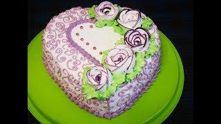 Торт ко дню Влюбленных БИСКВИТНЫЙ торт с ПЕРСИКАМИ украшение торта кремом Готовим с Любовью