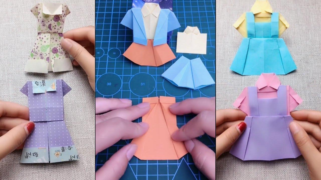 Cách Gấp,Xếp Quần Áo Bằng Giấy Màu Siêu Đẹp | How to make Origami Clothes 👕