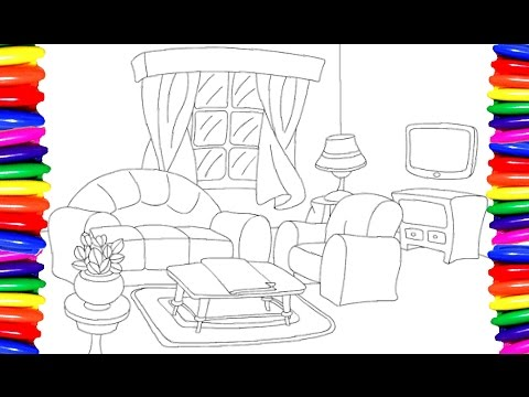 Coloring Pages Living Room How To Draw And Color Furniture For Kids