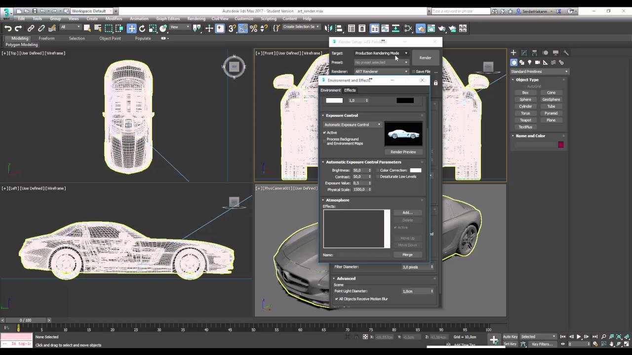 3Ds Max 2017 Art Render Kullanımı - YouTube