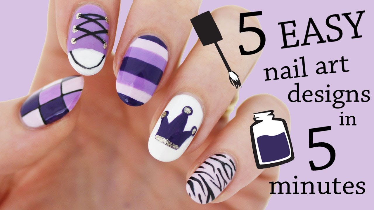 FIVE IN FIVE | Easy Purple Nail Art Designs | Nailed It NZ - YouTube
