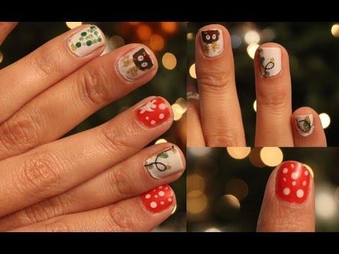 4 diseños de uñas PARA NAVIDAD! MUY FACIL!
