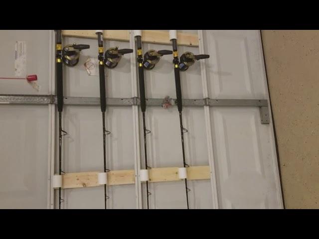 Diy Garage Door Fishing Rod Storage Youtube