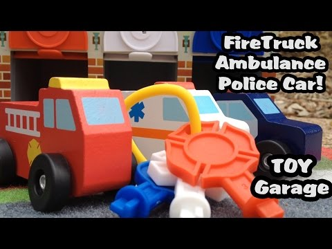 Toy Rescue Truck Garage Set L Firetruck, Police Car And An Ambulance!  Melissa And Doug