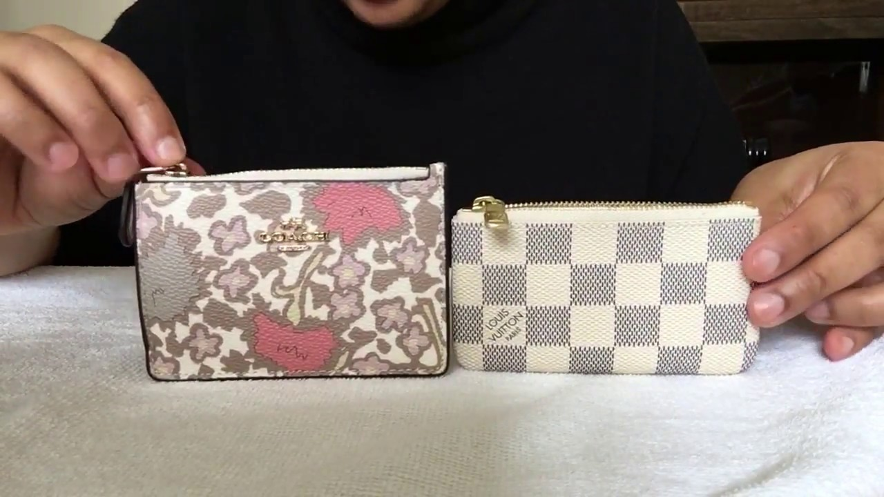 2994dcecbd3 Louis Vuitton Damier Azur Key Pouch compare Coach Skinny Wallet ...