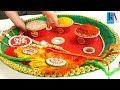 How to make 2 colours decorated pooja Thali || simple and easy puja thali at home || diy
