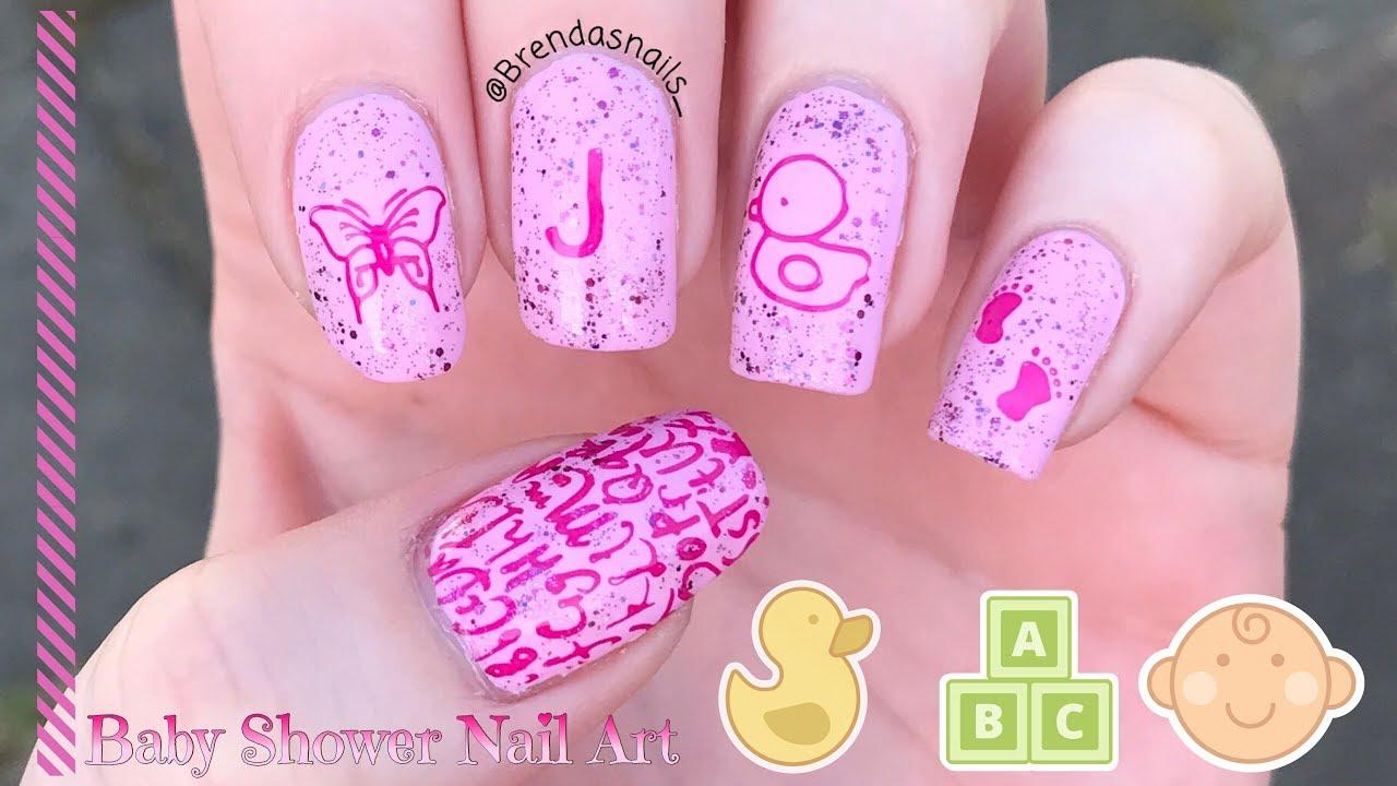 BABY(SHOWER) NAIL ART TUTORIAL 💖 | Brenda's Nails