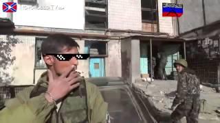 Украинский ополченец с железной психикой. Курит во время обстрела ГРАДА