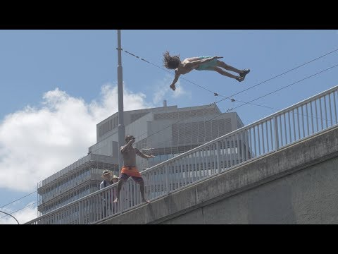 URBAN CLIFF JUMPING IN ZURICH, SWITZERLAND   4K