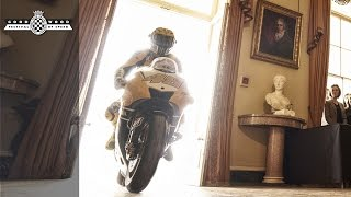 Valentino Rossi's spectacular Goodwood entrance
