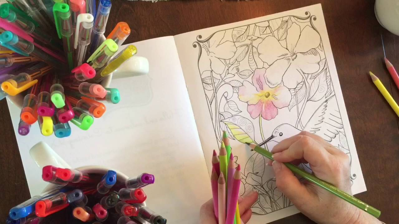 Coloring with Faber Castell Pencils and Gel Pens - YouTube