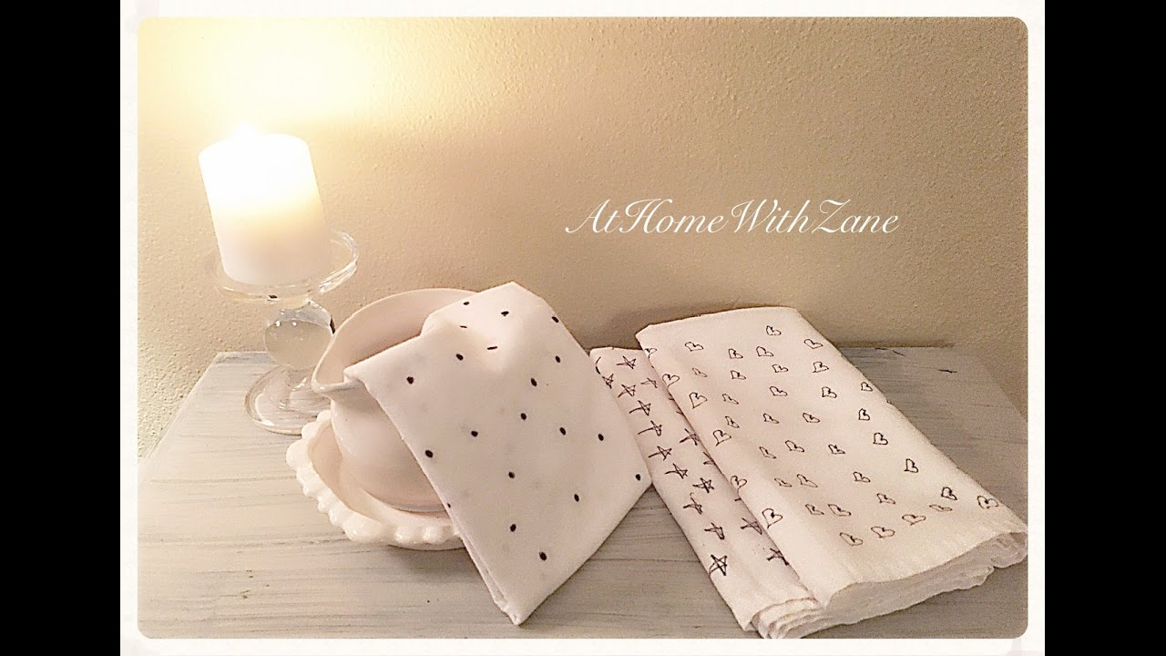 How to create tea towels using white linen napkins and a for How to keep white towels white