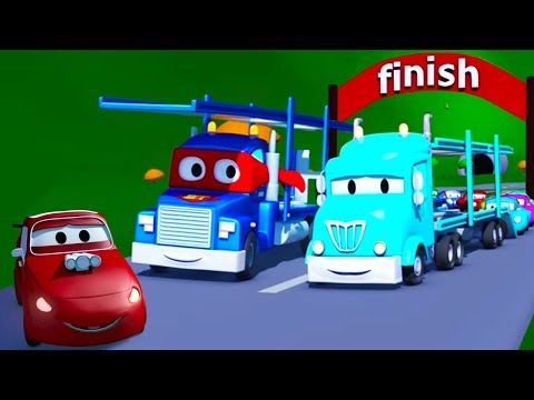 Carl  the Super Truck and the Car Carrier in Car City   Trucks Cartoon for kids