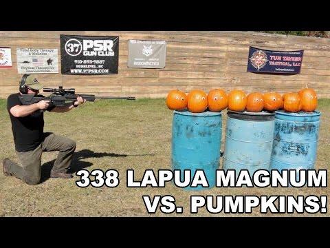 338 Lapua Magnum vs. Pumpkins! Savage 110BA