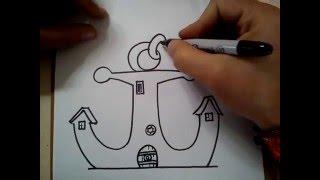 COMO DIBUJAR LA CASA DE DON CANGREJO / HOW TO DRAW THE HOUSE Mr. Krabs