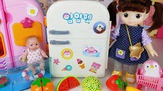 Baby doll refrigerator surprise eggs toys house play - ToyMong TV 토이몽