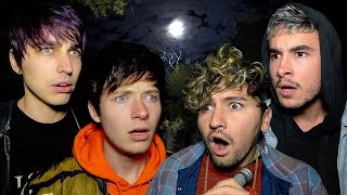 We Got CAUGHT Camping Overnight in Haunted Forest..