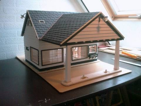Building a model house out of cardboard