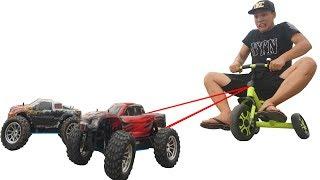 NTN - Thử Dùng Xe Đồ Chơi Kéo Người 70KG ( Using toy car to drag people )