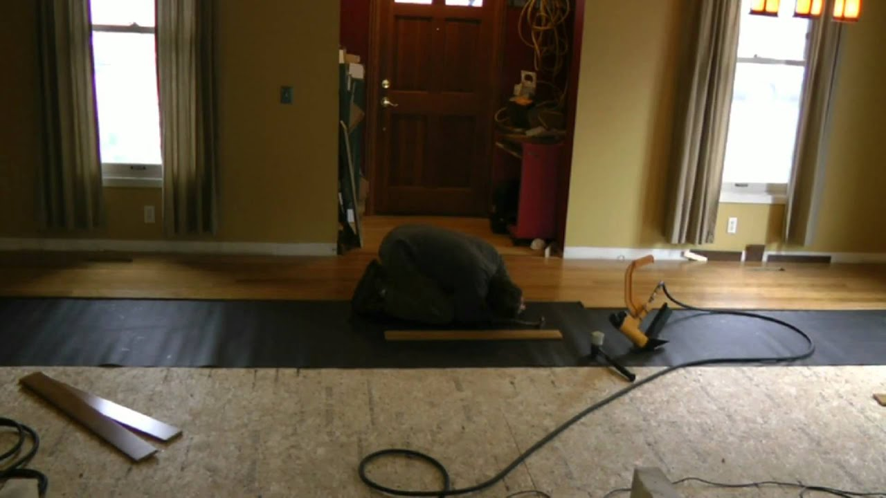 Novice Installs Bamboo Wood Floor   YouTube