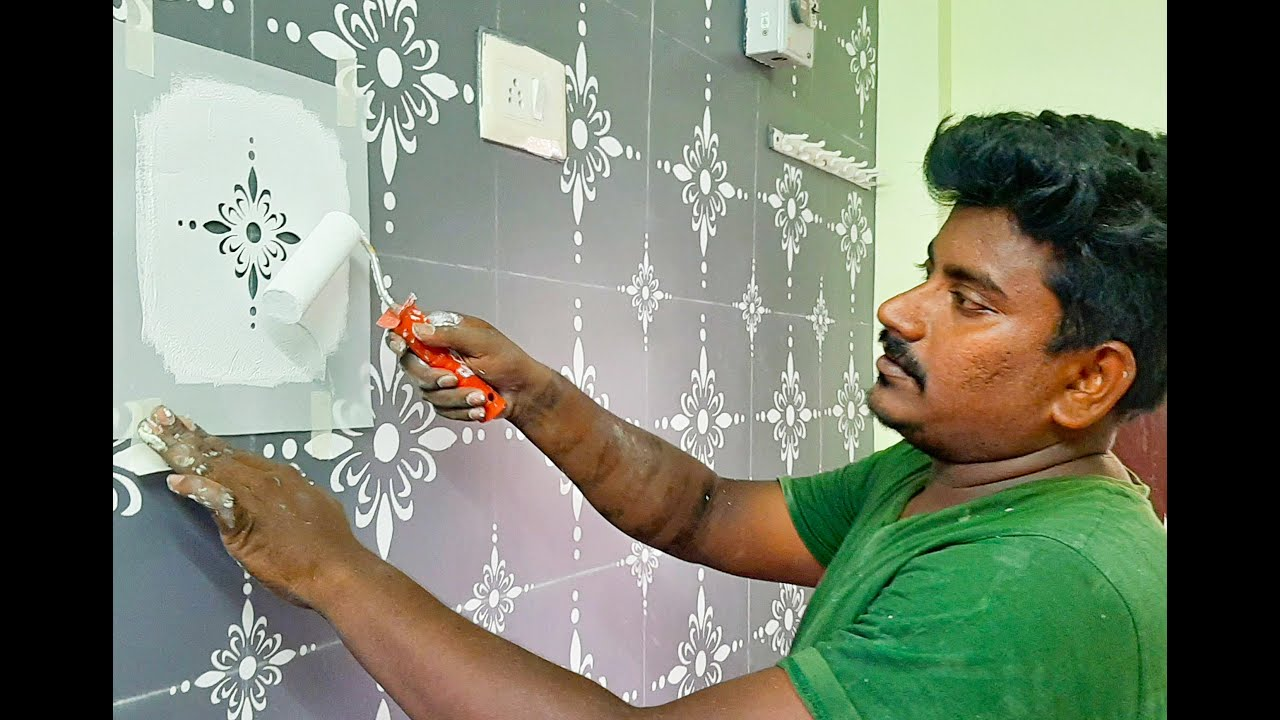 Wall Painting Stencils For Living Room Designs And Ideas Diy Youtube