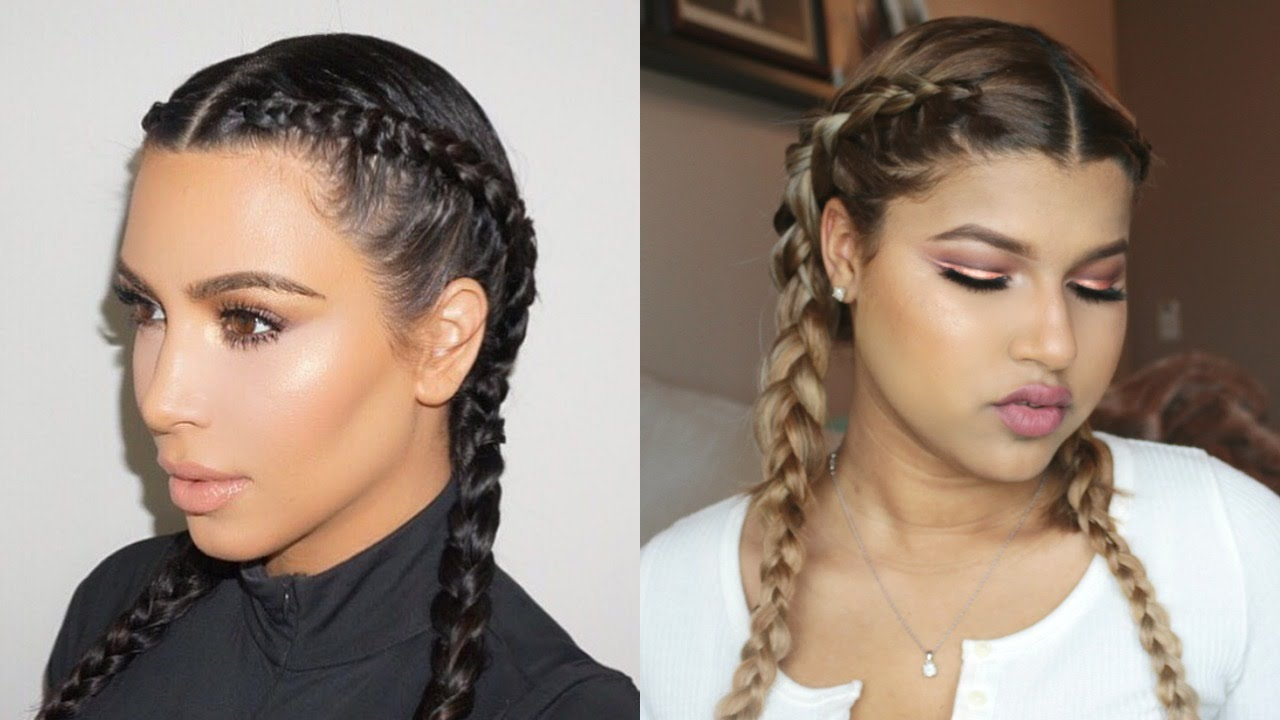 How To Kim Kardashian Braids Dutch French Braids Youtube