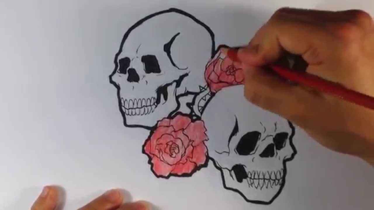 How To Draw A Tattoo Design Skulls And Roses Youtube