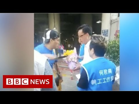 Video captures Hong Kong lawmaker stabbing - BBC News