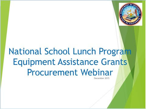 National School Lunch Program Equipment Assistance Grants Procurement Webinar
