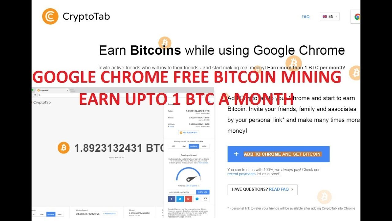 Earn 1 Bitcoin In A Month Live Payment Proof From Cryptotab Free Bitcoin Mining From Google Chrome -