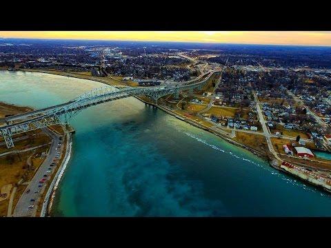 Bluewater Bridge Sarnia/Port Huron Drone footage