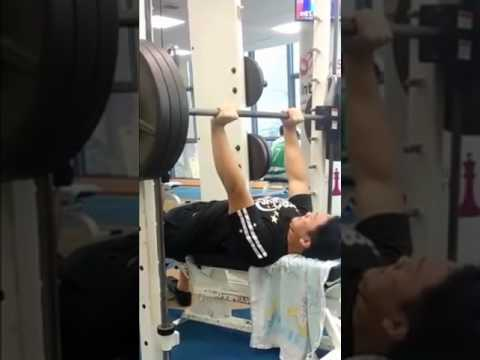 Gym Vlog 2: 3.25-plate smith machine bench press personal record! :)