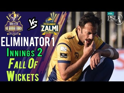Quetta Gladiators Fall Of WicketsPeshawar Zalmi Vs Quetta GladiatorsEliminator120MarHBL PSL 2018