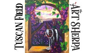 How to paint with Acrylic on Canvas Tuscan Lavender field and Wine thumbnail