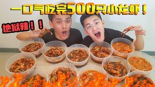 挑战一口气吃完500只麻辣小龙虾!!!差点辣晕了~ ft. Leeroy