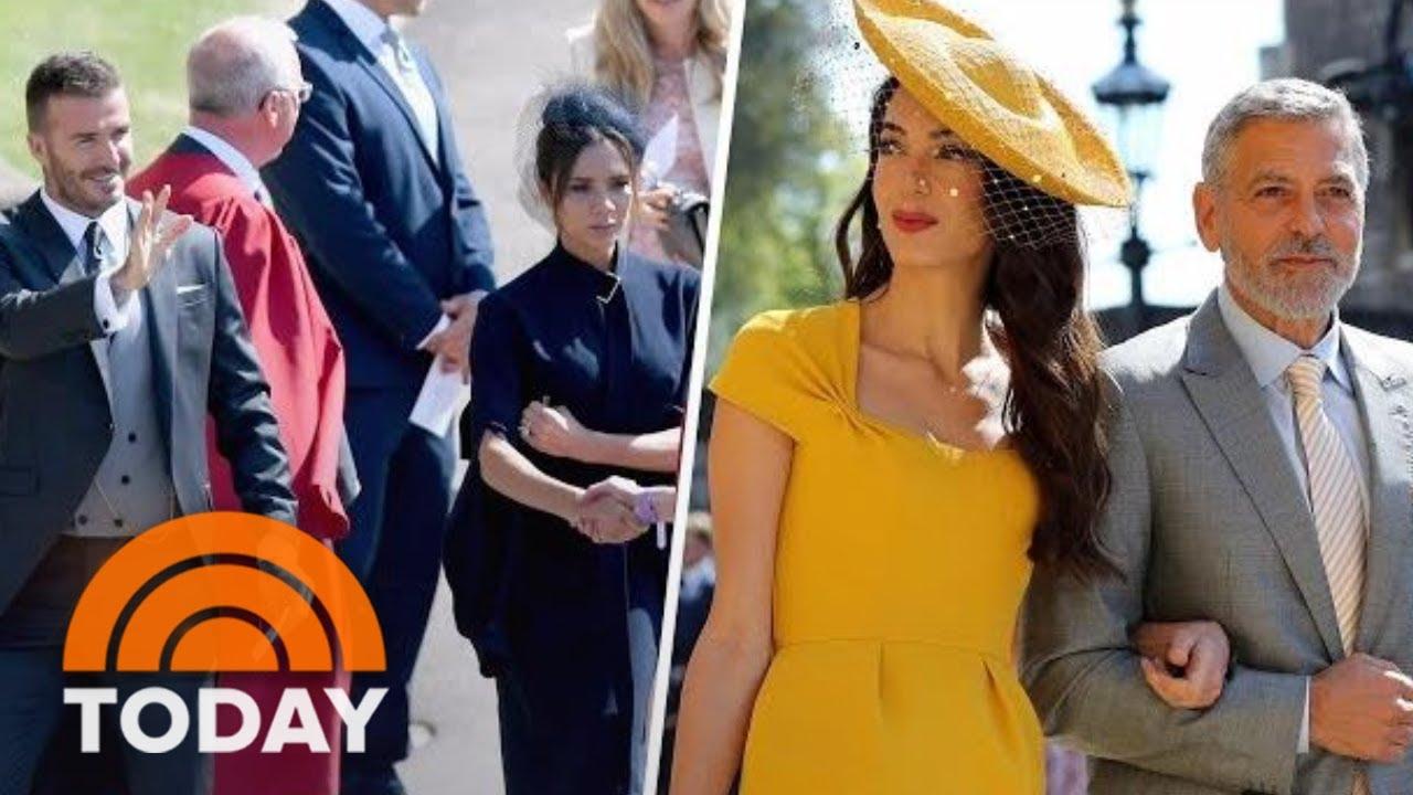 Amal Clooney Royal Wedding.Royal Wedding George Clooney Victoria Beckham Arrive At Windsor Castle Today