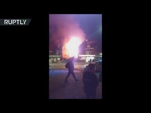 Shop ablaze following blast in Leicester, UK