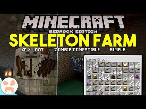 Minecraft Bedrock SKELETON FARM TUTORIAL! | Easy, XP & Loot,