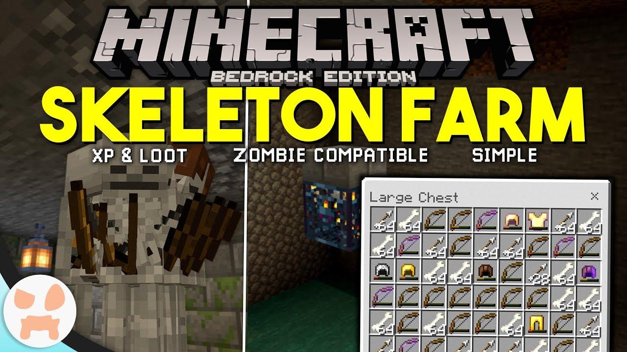 Minecraft Bedrock SKELETON FARM TUTORIAL!  Easy, XP & Loot,