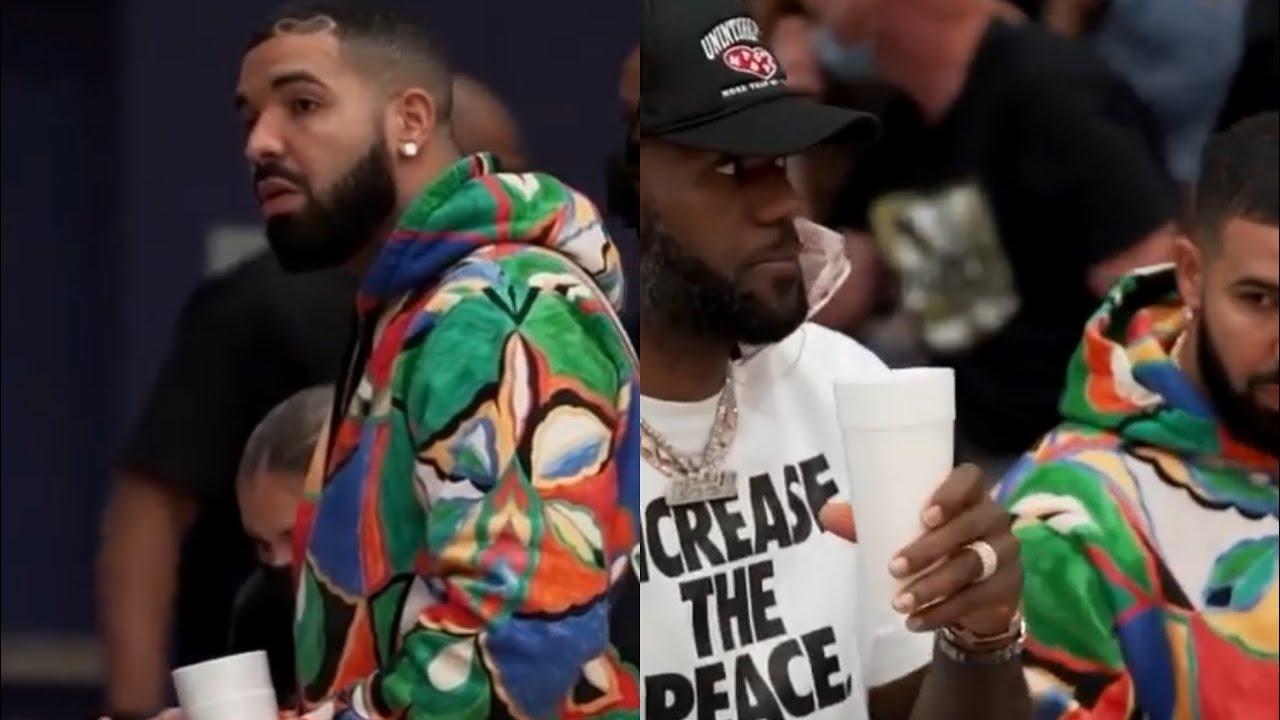 Drake Pulls Up On Lebron Rocking Supreme x Emilio Pucci Hoodie