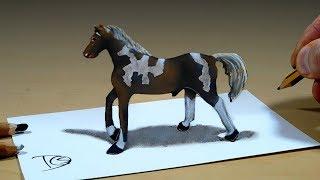 3D Trick Art on Paper   Horse