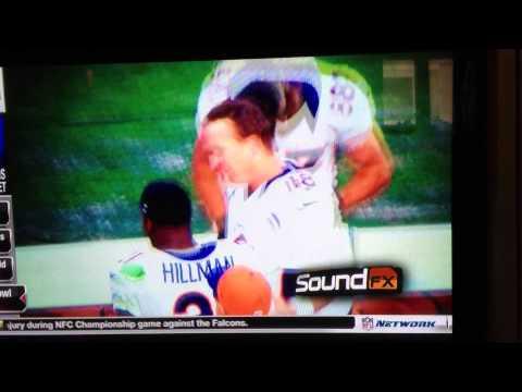 Peyton Manning congratulates Ronnie Hillman on first career touchdown