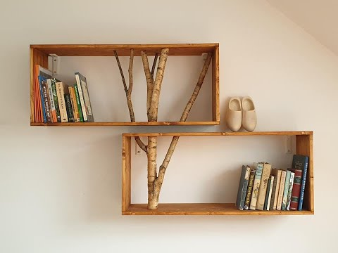 Making a bookshelf with tree branches inserted