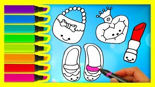 How to Draw Set of Female Accessories | Coloring Pages for Girls Shoes Handbag Perfume Lipstick