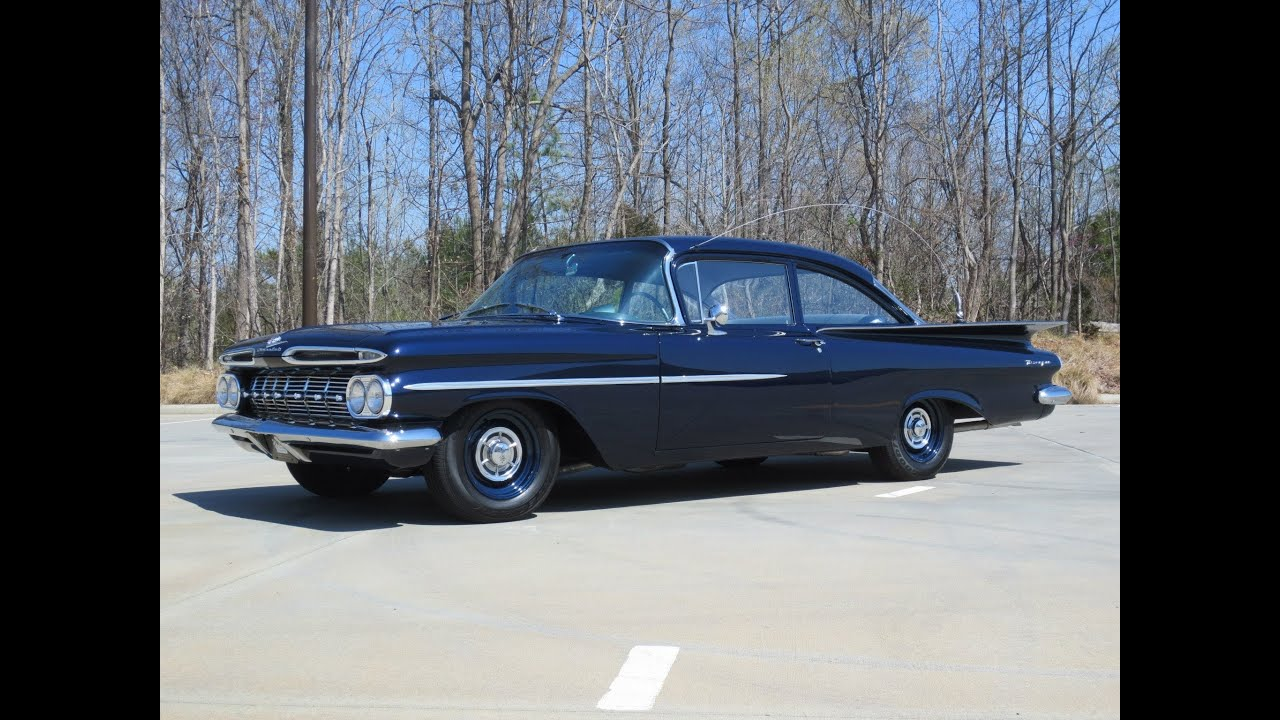 1959 chevrolet biscayne duntov v8 patrol car start up, exhaust, and