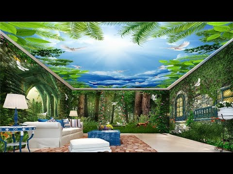 3D Wall Mural Trees & Large Flower Ceiling – Custom Natural scenery False Ceiling  For Living Rooms