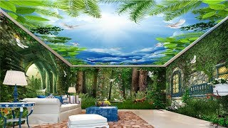 3D Wall Mural Trees & Large Flower Ceiling - Custom Natural scenery False Ceiling  For Living Rooms