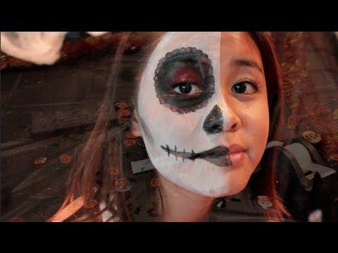 easy half face sugar skull halloween tutorial  youtube