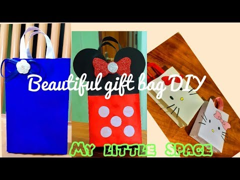 3 Beautiful paper bag DIY| Cute gift bag |Mickey mouse bag| hello kitty paper bag | My little space