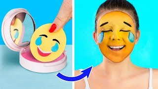 10 Crazy Makeup Ideas / DIY Emoji Makeup Ideas